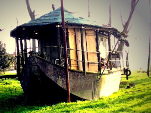 Boat on the shores of river Po, in Luzzara