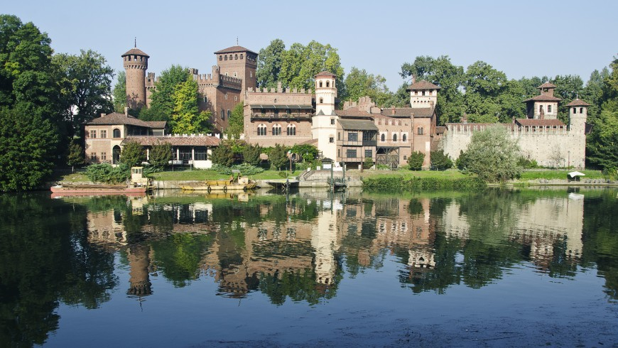 village with the fortress in the park of Valentino, realized as pavilion of the General Italian Exhibition of 1884
