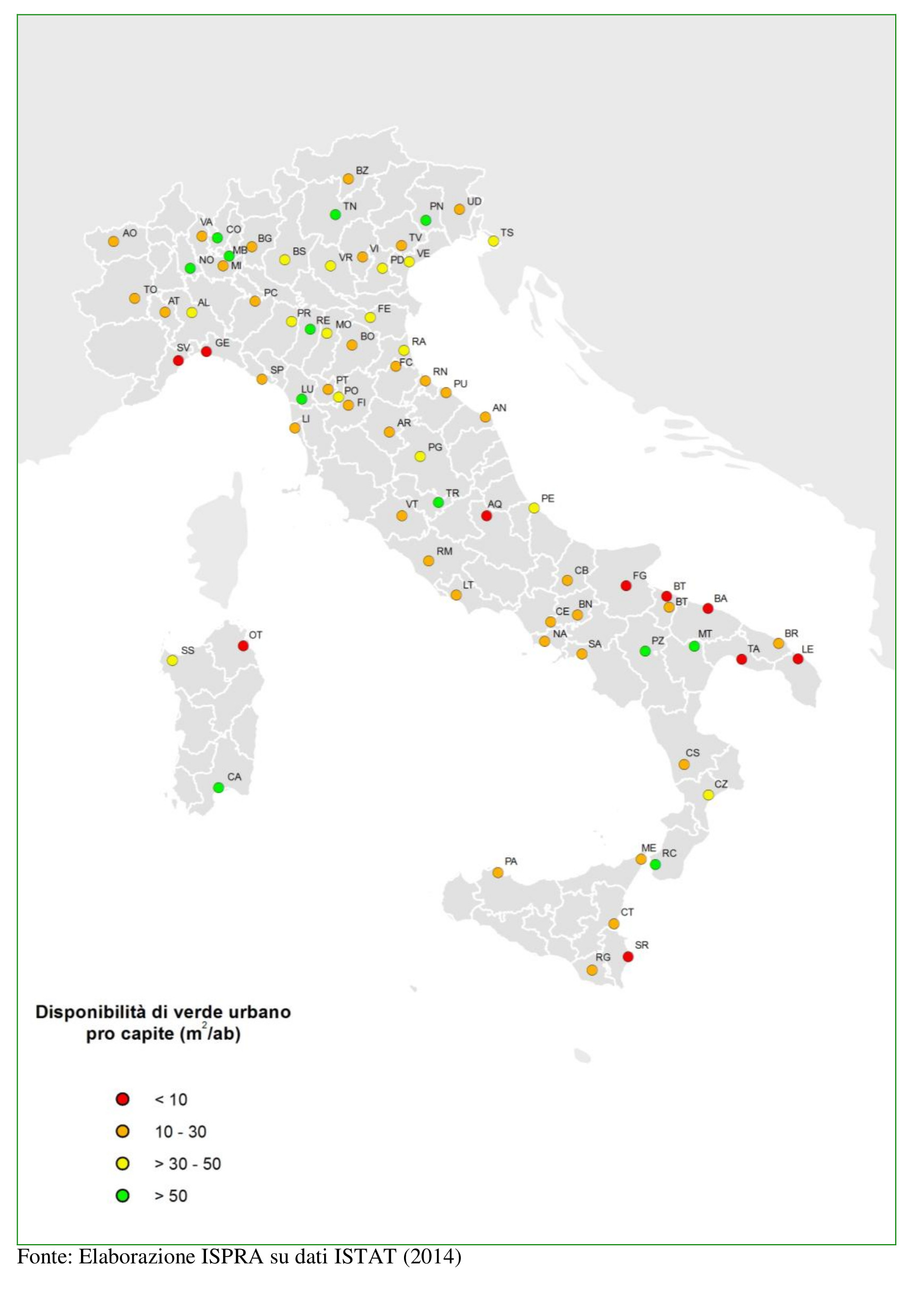 Availability of green areas per capita in different Italian cities, accordng to the ISPRA Analysis in 2014. Urban Green in Italy.