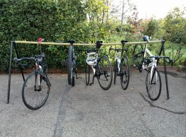 Bicicles in the garden of the hotel - On two wheels in the hills near Turin