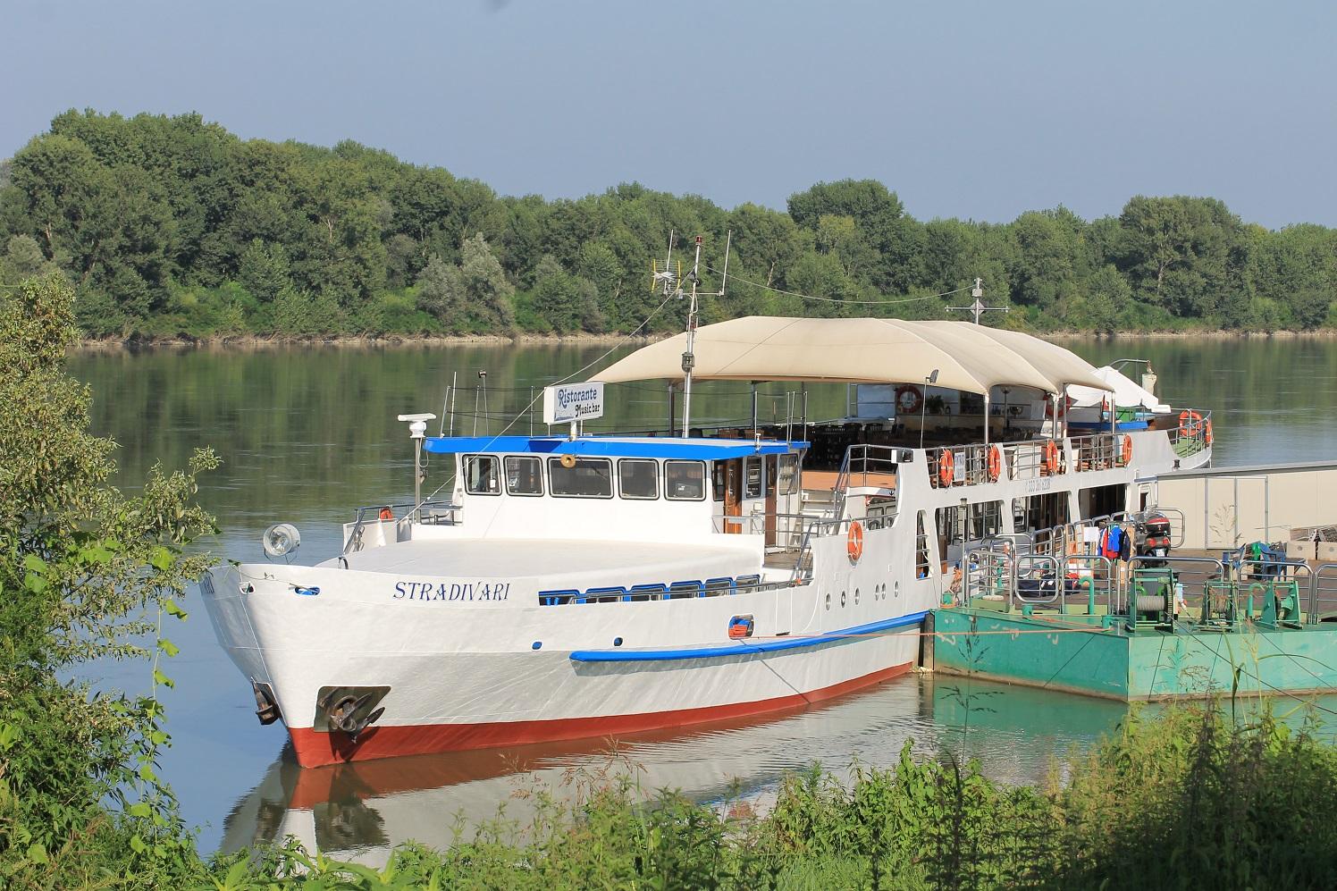 Tourist motor vessel on river Po, in Boretto