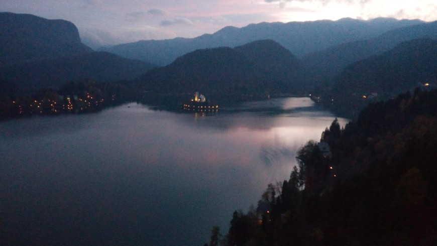 View of the lake from the castle of Bled