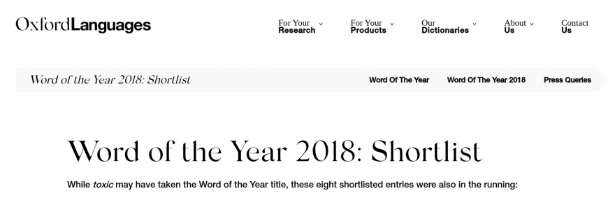 Word of the Year 2018 - shortlist Oxford Languages