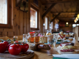 Table with bio products, Almgasthaus Hiasl Zibenhütte, green tourist facilities