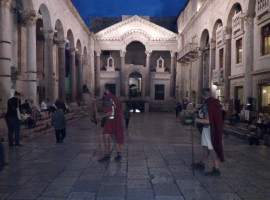 Diocletian's Palace by night, with Roman soldiers. Photo by S. Ombellini