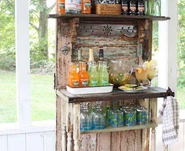 Reusing a vintage door as a bar, garden, photo via Pinterest
