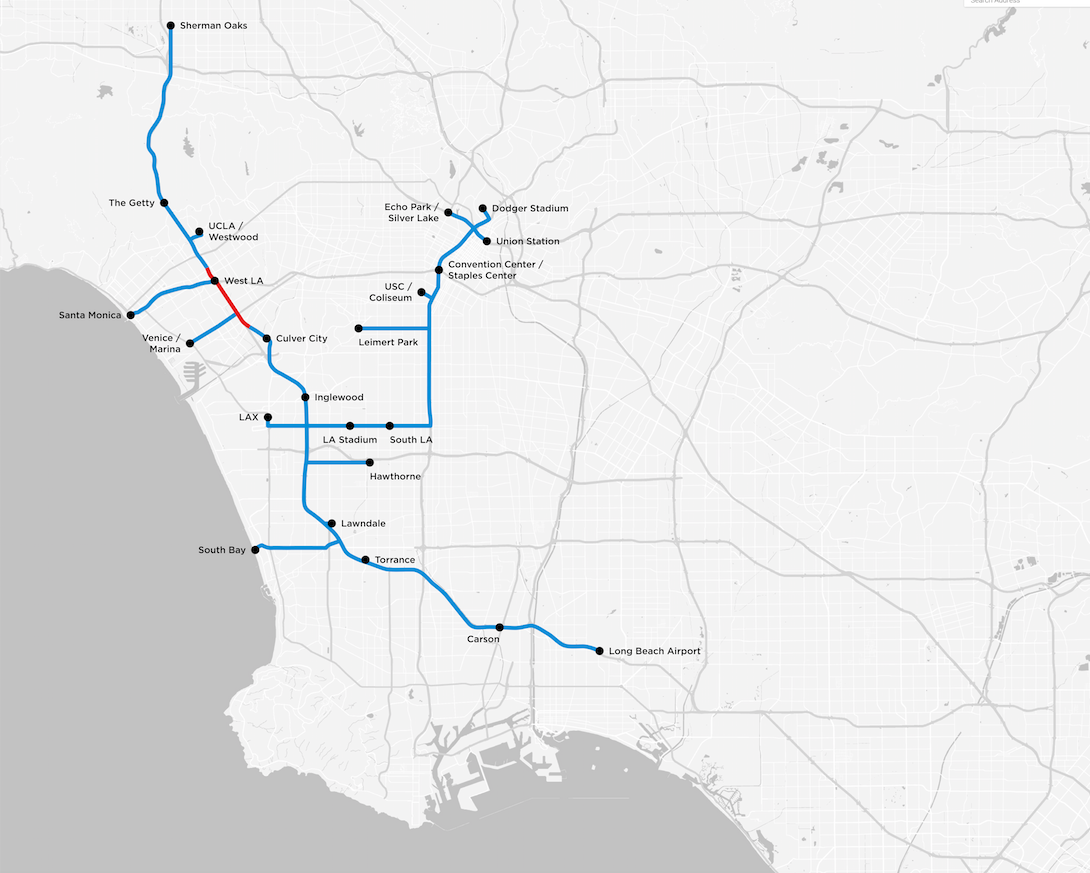 """Map of the Los Angeles bus tunnels, in red the test track for which """"The Boring Company"""" has already submitted a request for an excavation permit."""