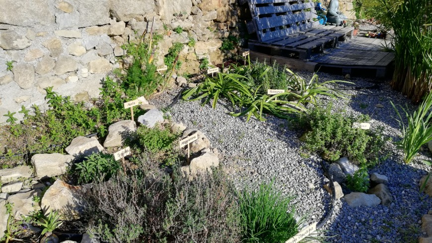 A corner of the terraced garden where you can relax and enjoy the view of the sea - Agrilunassa, an eco-friendly gusethouse in Bordighera hills, Liguria (Italy)