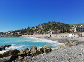 Sea and beach of Bordighera, Liguria, Italy