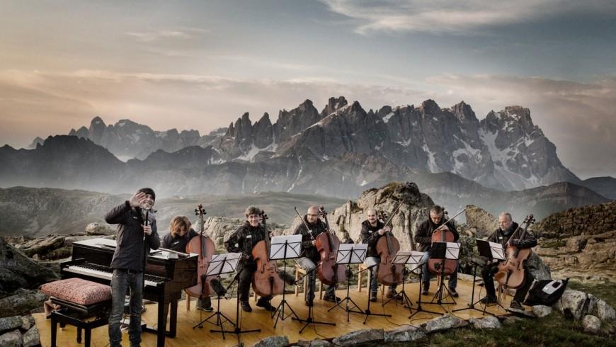 Orchestra playing on Brenta Dolomites