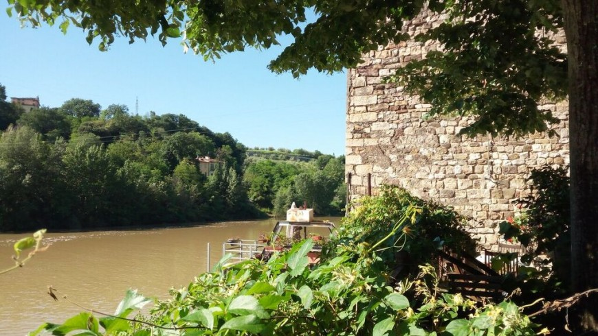 View of the Arno River from La Martellina, an old mill converted into eco-friendly B & B