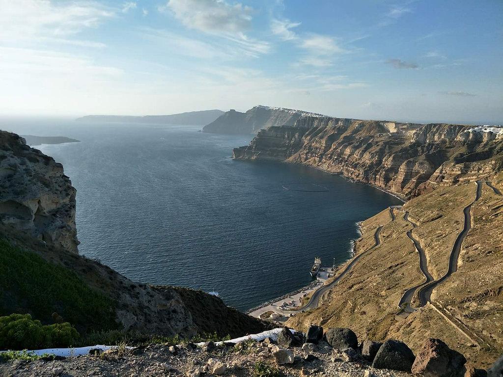 The caldera of Thera, in Santorini