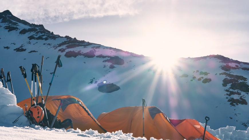 Tents and the rising sun