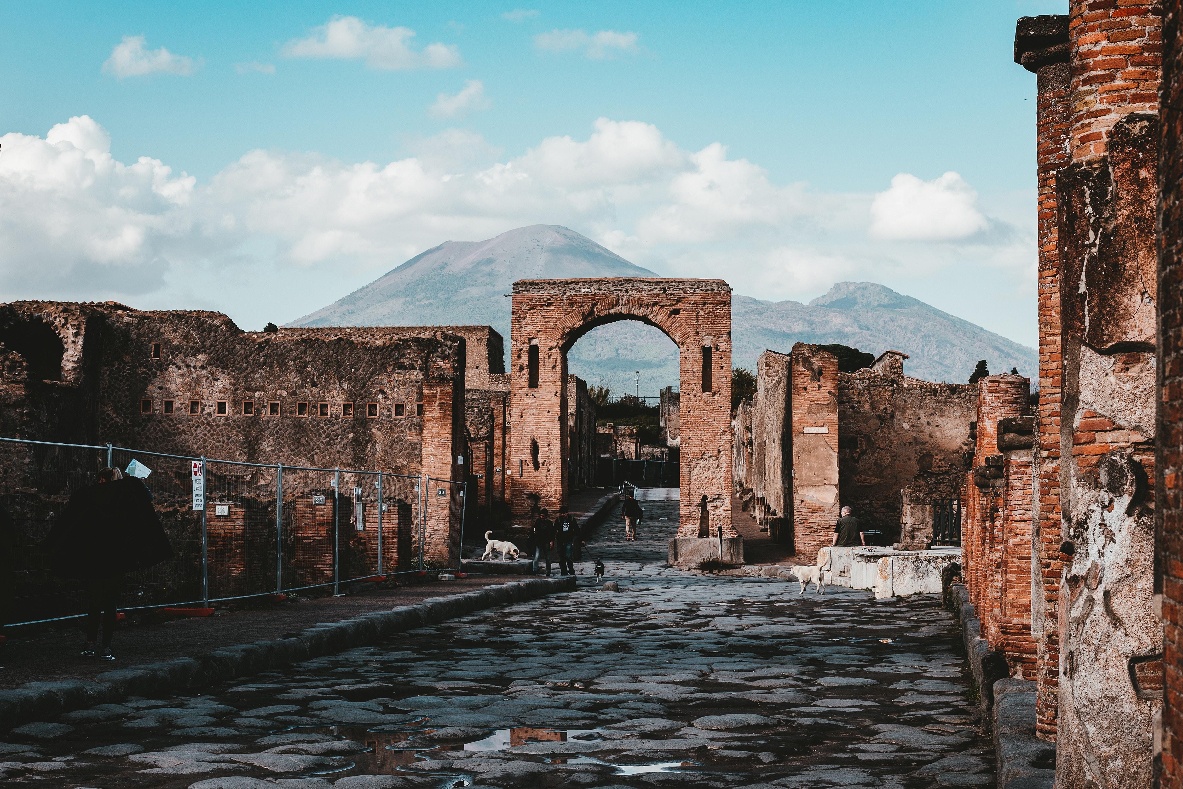 Vesuvius in the background of Pompeii's ruins