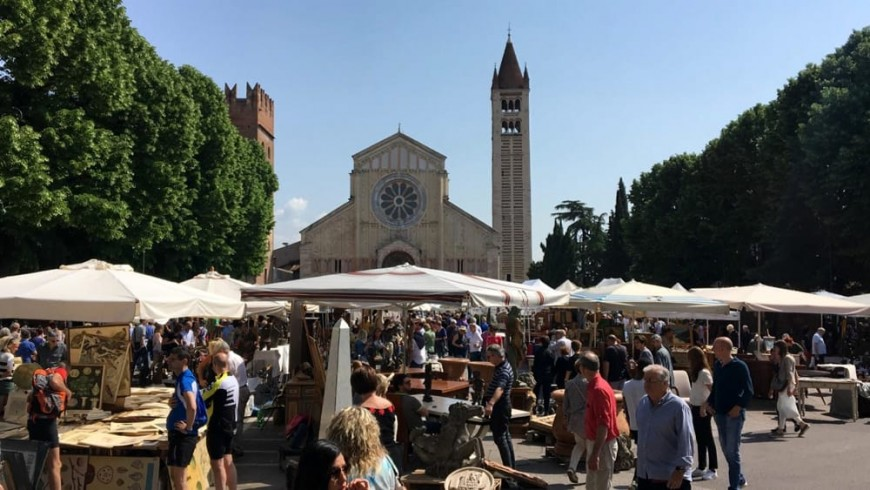 San Zeno and the flea market of Verona
