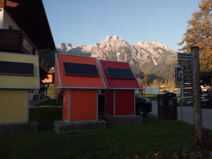 Small houses with solar panels for clean electricity