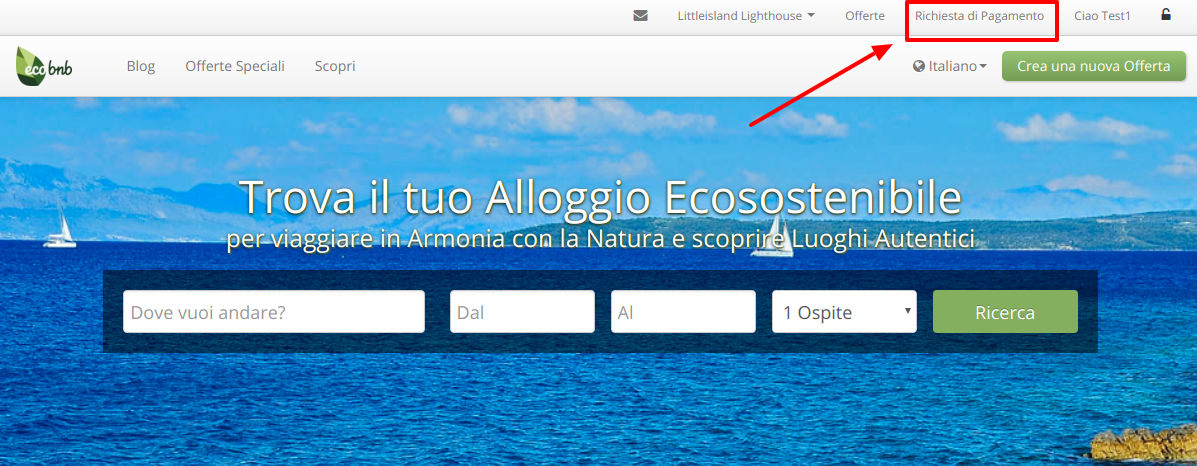 "Homepage of Ecobnb, after login, at the top right of the menu you can find the button ""Payment Request"""