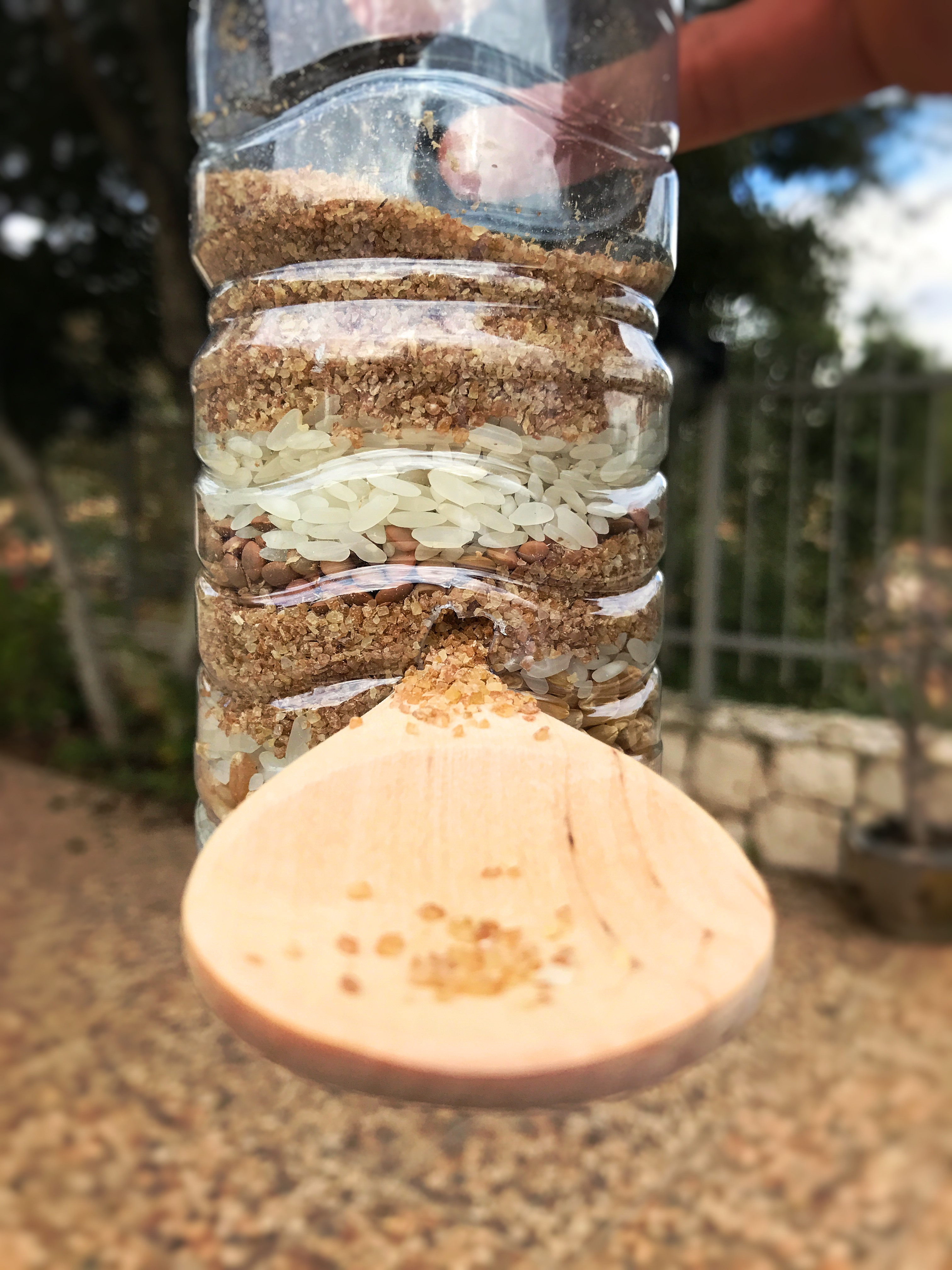 the Upcycled Birdfeeder with a close-up on the spoon