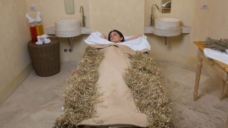 Hay baths in Relais Antico Monastero of San Biagio, Umbria, Italy