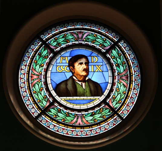 Count Cesare Mattei portraited on a circular glass window.