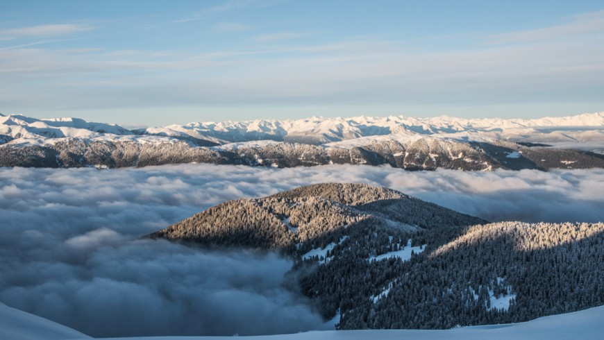 Snowy landscape on mountains from Kronplatz