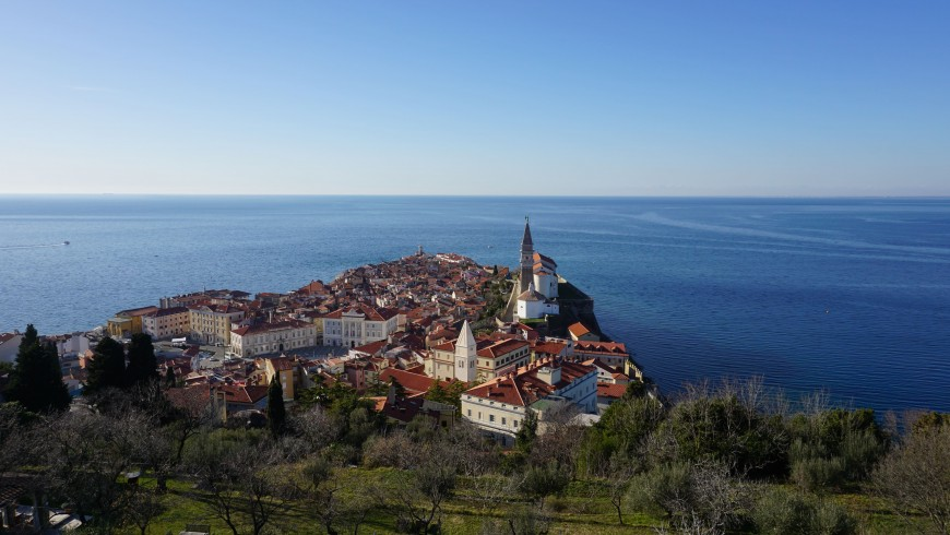 Aerial view on Piran and the sea