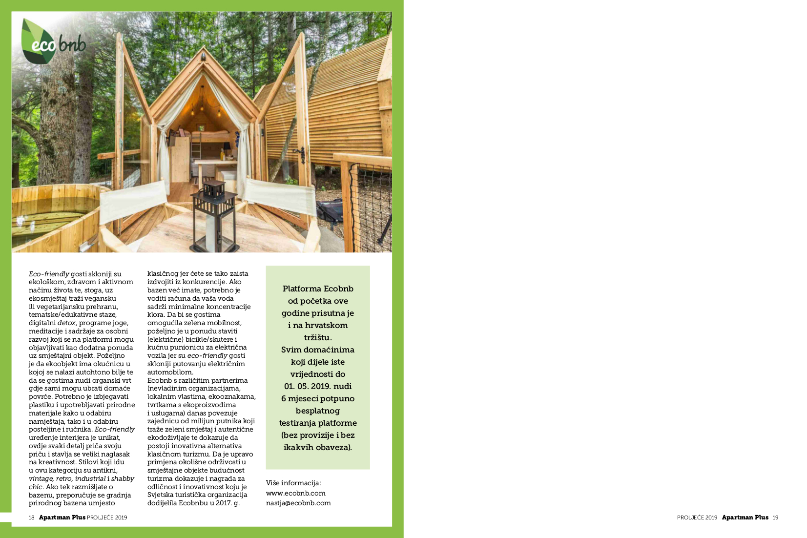 The article about Ecobnb, published on the Croatian magazine Apartman Plus