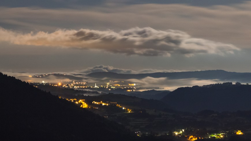 Night view over the Altopiano dei Sette Comuni, north Italy