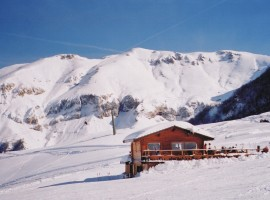 snow, chalet
