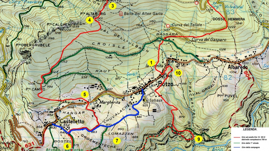 Trekking map of Rotzo
