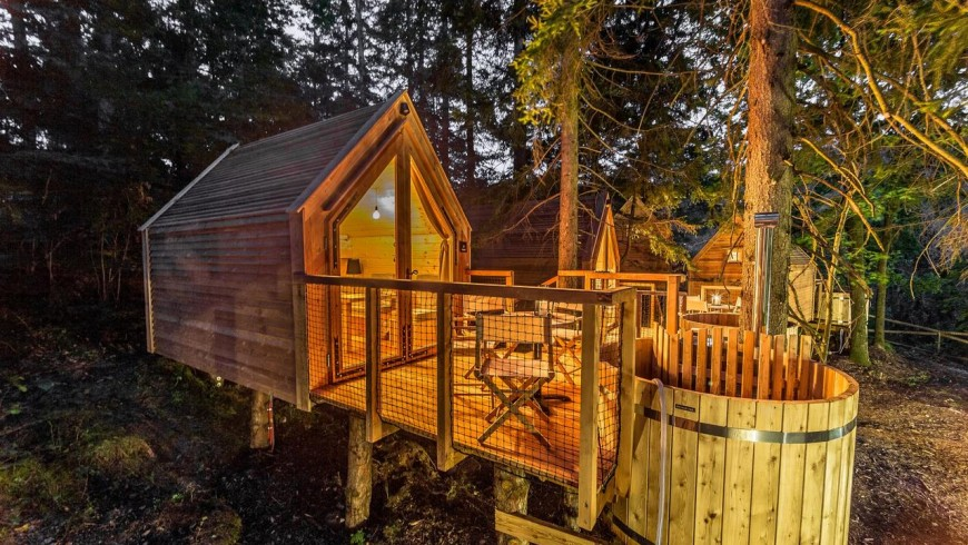 glamping house by night