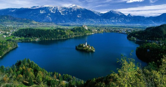 bled lake, aerial view