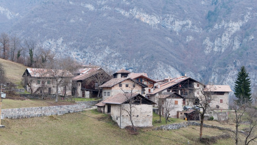 typical alipne village in the mountains