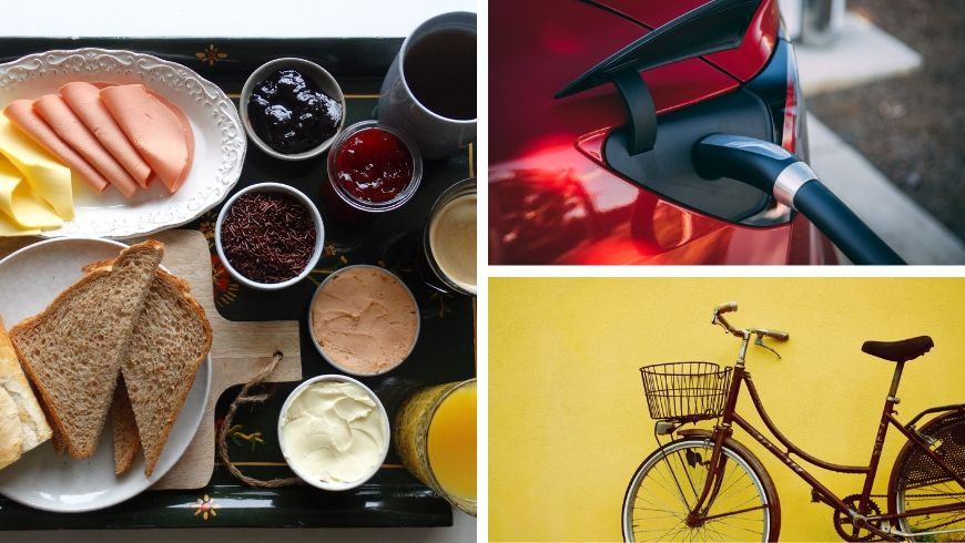 vegan breakfast, e-car and bicycle available for guests