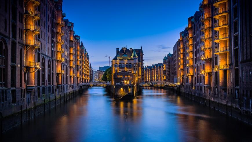 Hamburg by night. Hamburg is one of the most vegan cities in Europe