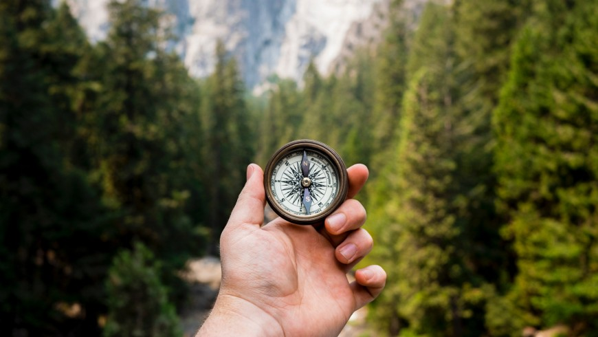 compass in a hand surrounded by nature