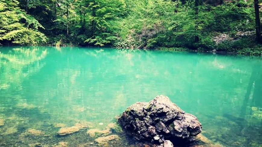 Manantial de agua natural del río Kupa: encantadora fuente esmeralda en el valle de las mariposas