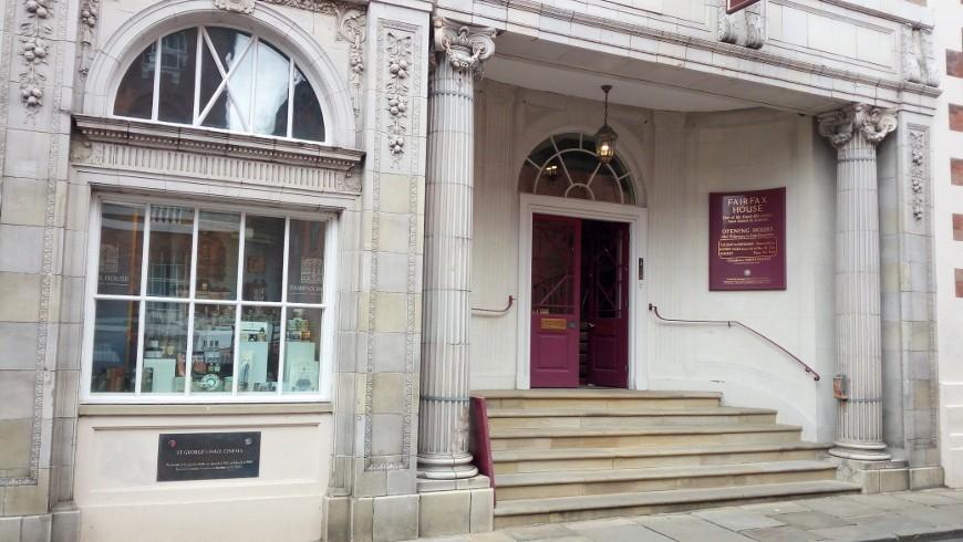 White entrance of the Fairfax House
