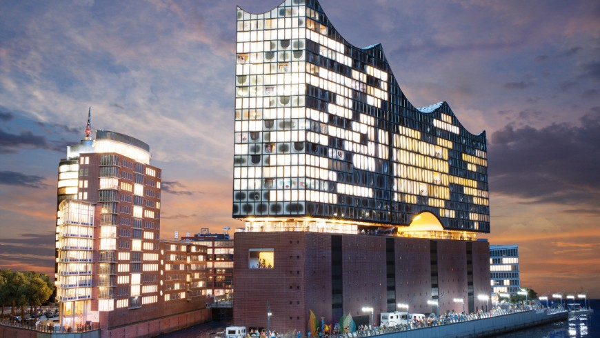 The building of the Hamburg Elbphilharmonie, reproduced in Miniatur Wunderland, photo via Miniatur Wunderland