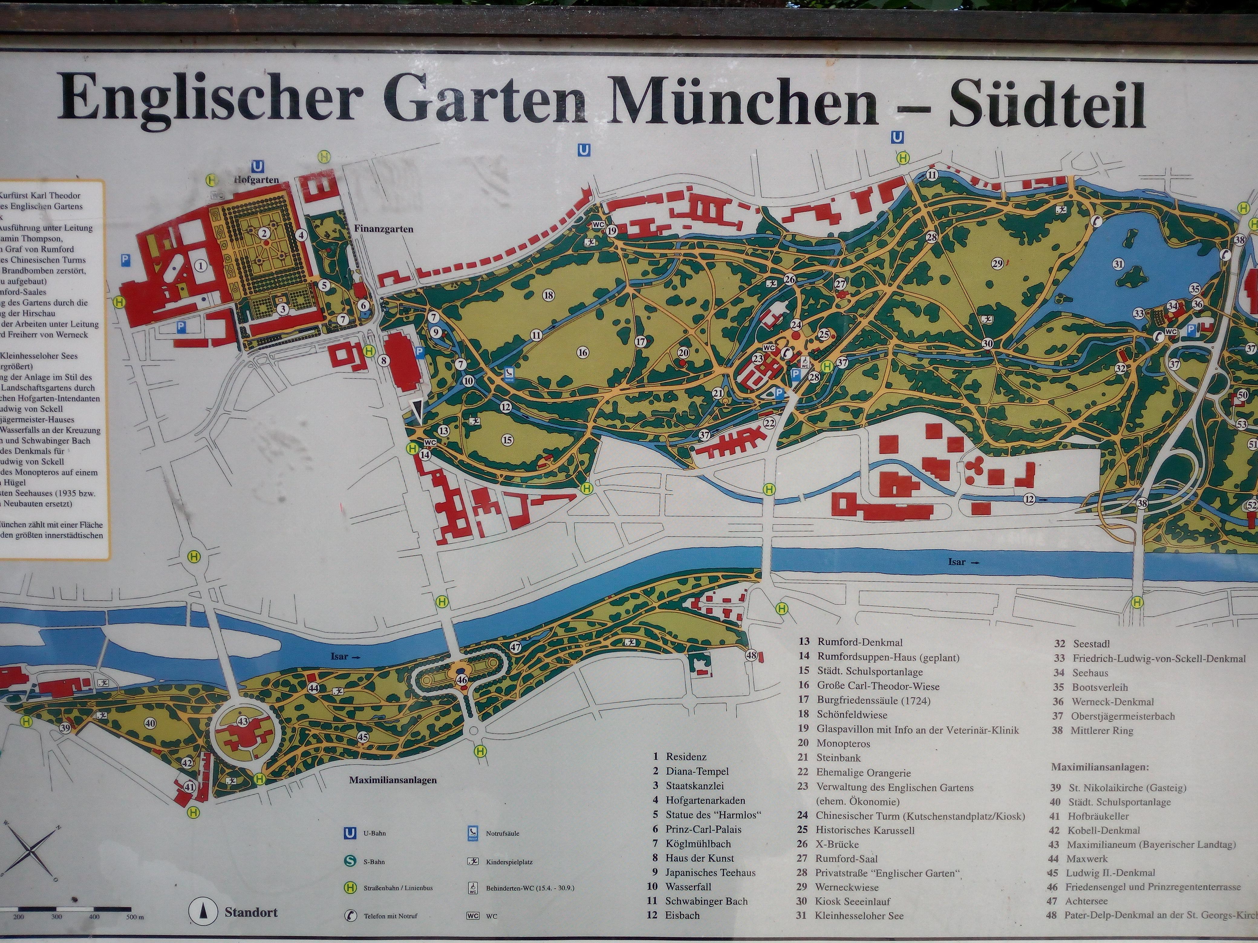 Map of the Englischer Garten in Munich