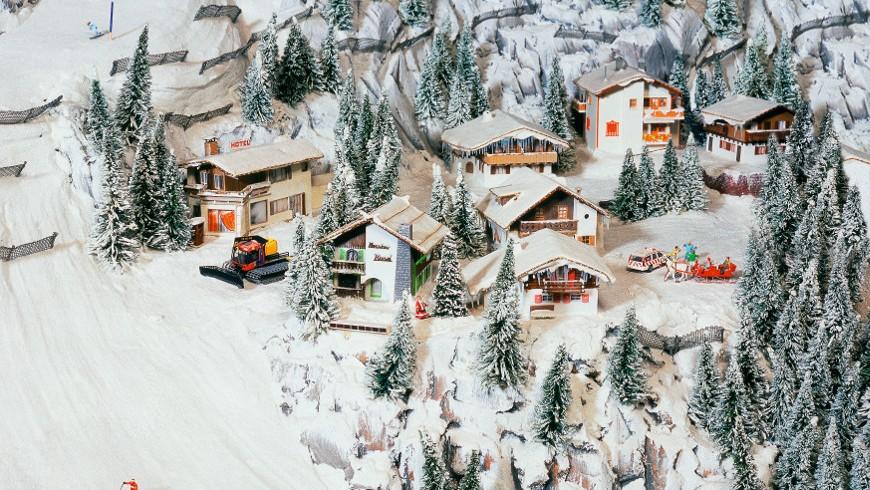 Snowy alpine landscape in Miniatur Wunderland
