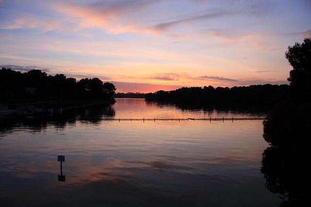 lake of Alimini at sunset