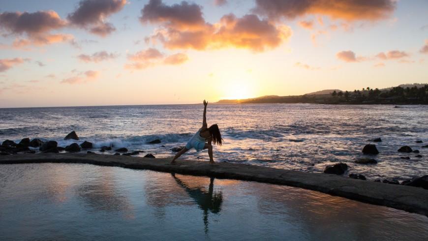 Yoga by the beach, Bali.