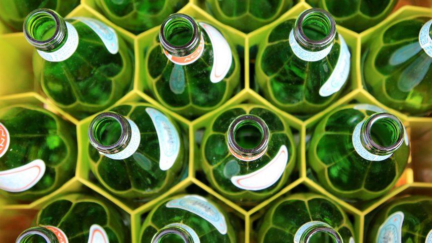 glass green bottles