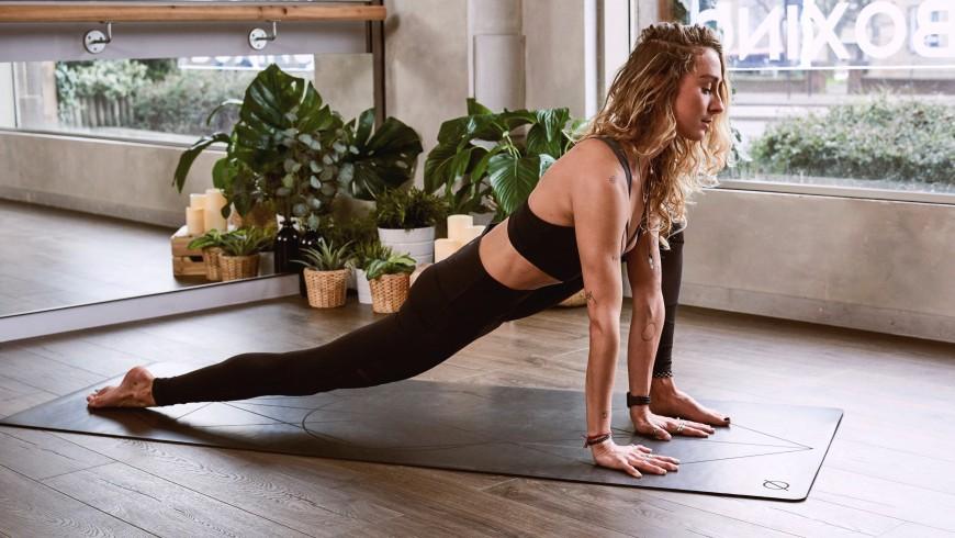 yoga exercises, woman on the rug