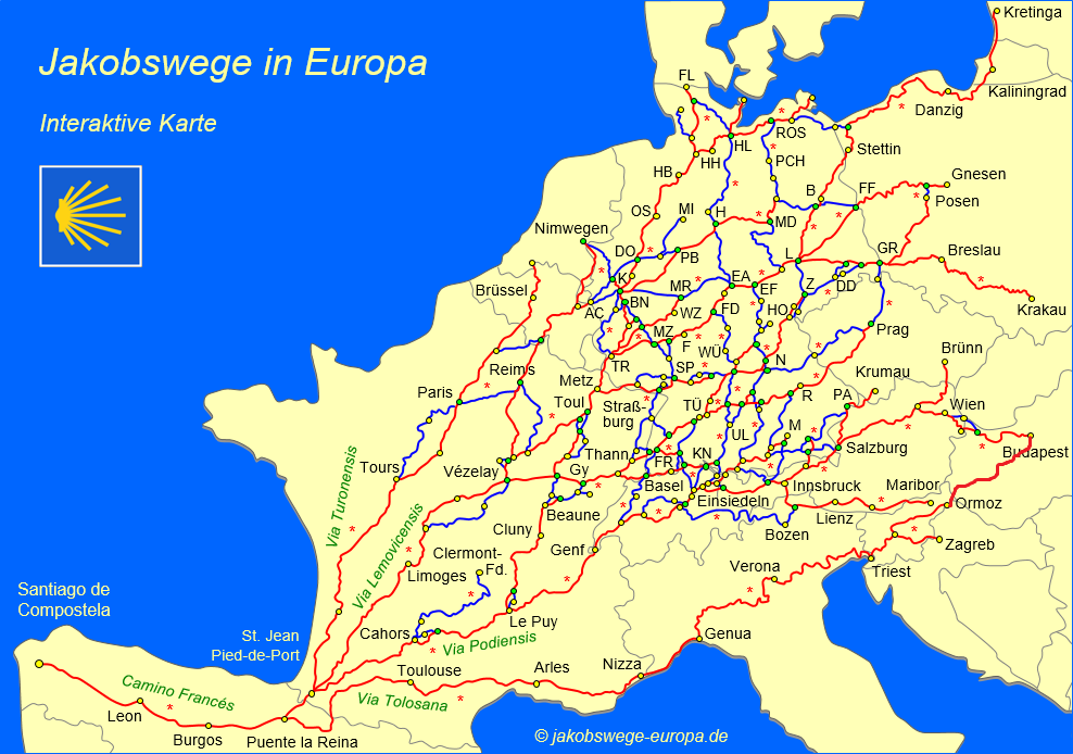 Map of the walkings from Budapest to the Ocean