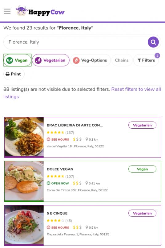 HappyCow App for vegans
