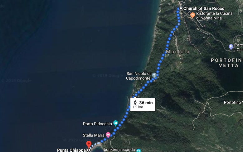 from San Rocco to Punta Chiappa, map