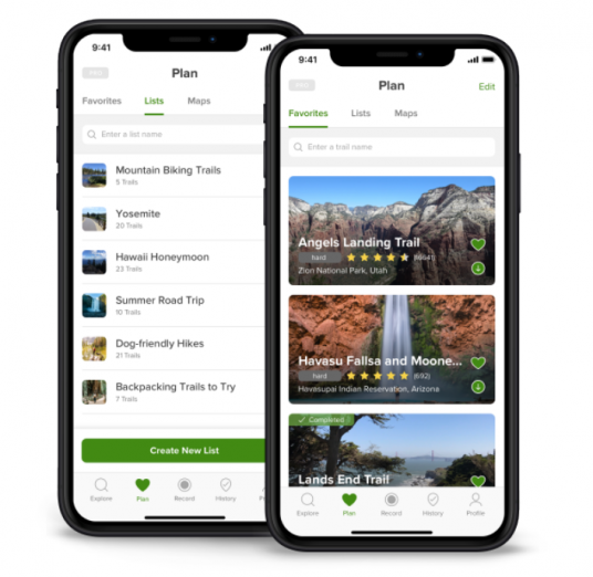 All Trails app for hiking