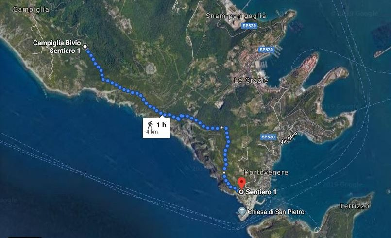 From Campiglia to Portovenere, map